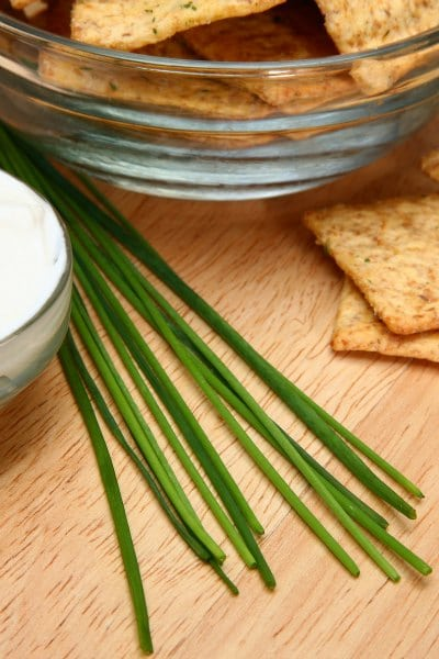 Focus on chives laying between crackers and sour cream.