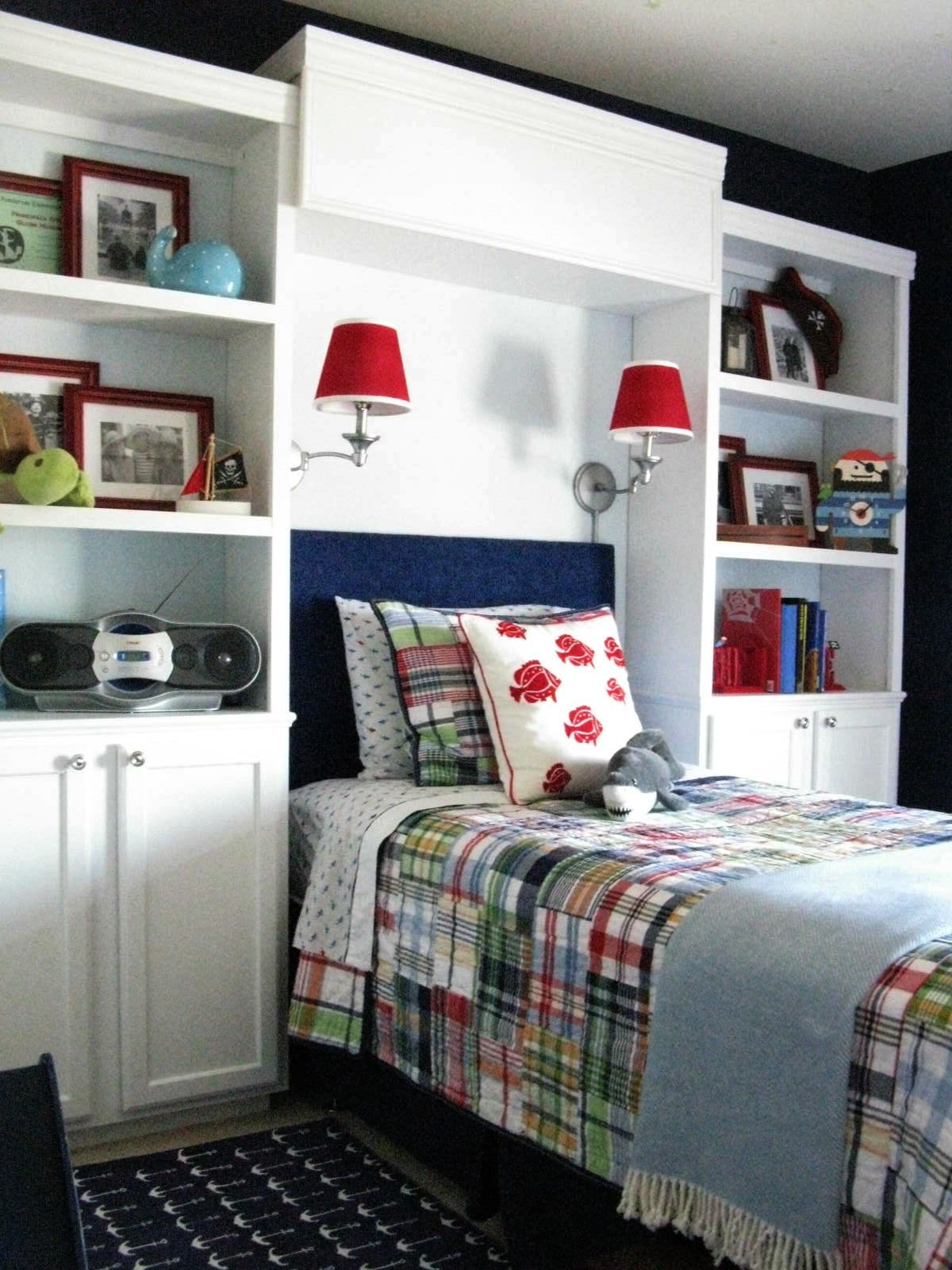 DIY built-in bookcases for a boys room makeover by Inspiration for Moms