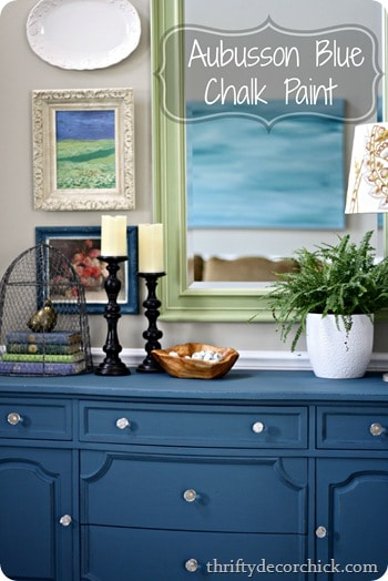 Aubusson Blue Dresser in the Foyer by Thrify Decor Chick: featured at Mrs. Hines' Class
