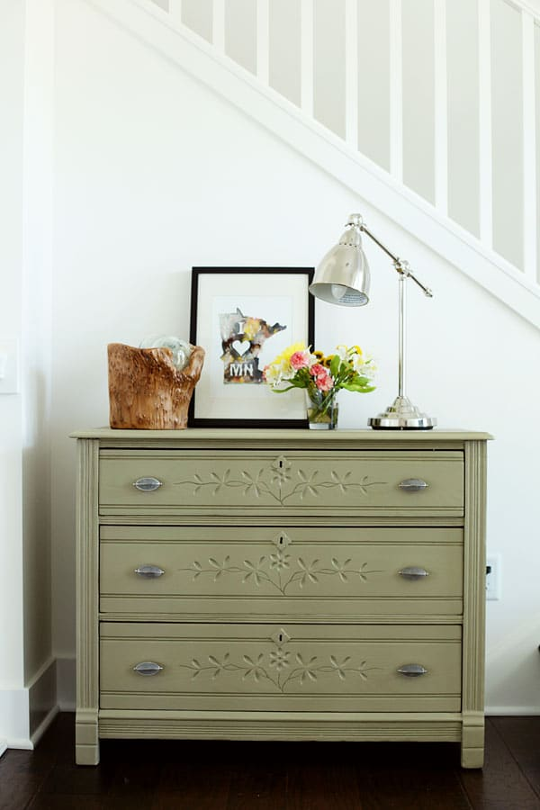 Olive Green Dresser Makeover by Michele Omega: featured at Mrs. Hines' Class