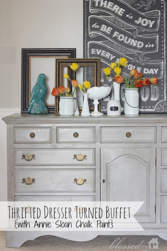 Thrifted Dresser Turned Buffet by My Blessed Life: featured at Mrs. Hines' Class