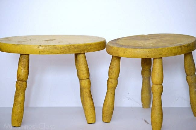 "vintage yellow stools ""before"" / see the ""after"" at www.mrshinesclass.com #ad #chalkyfinish #decoartprojects"