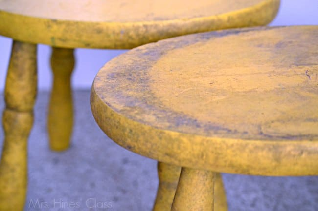 "vintage stool ""before""/ Learn how to create a Color Wash with #chalkyfinish paint / www.mrshinesclass.com #ad #decoartprojects"