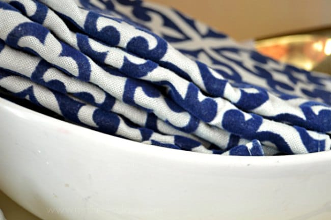 Store your table linens in style. Visit www.mrshinesclass.com for a clever idea for storing your cloth napkins.